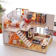 100 Amazing Loft Apartments Miniature Dollhouse Wooden Doll House Furniture LED Kit Christmas Birthday Gifts