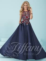 tiffany designs prom dress 16213 navy multi size 4
