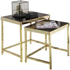 finebuy satztisch fb49700 satztisch vivi schwarz gold beistelltisch metall glas couchtisch set aus 2 tischen kleiner wohnzimmertisch