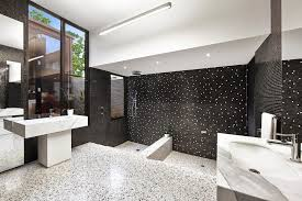 bathroom decor in black white theme with mosaic tile and black