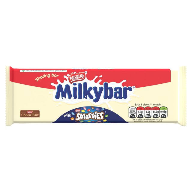 Nestle Milky Bar with Smarties Sharing Block Bar - 100g