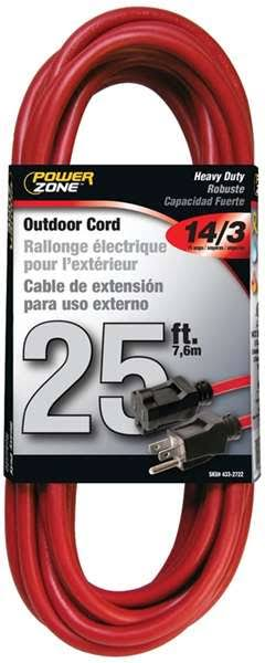 "Powerzone Outdoor Cord - Red, 14/3"" x 25ft"