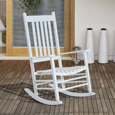 Outsunny White Wooden Porch Rocking Chair - Home Done