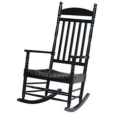 Black Solid Wood Porch Rocker