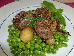 cuisiner petits pois frais boulettes de boeuf à la menthe petits pois frais préparé maison