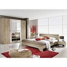 avanti trendstore rubi schlafzimmermöbel komplett aus laminiertem sanremo eiche hell weiß inkl bettgestell mit 2 nachtschränkchen und schrank