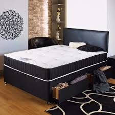 Black Leather Headboard Single by 50 Off Brand New Double Divan Bed With Memory Foam Mattress 135