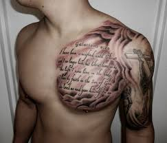 Men Chest And Half Sleeve Nice Spiritual Text Cross Tattoo