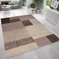 moderner designer teppich in beige braun mit kachel optik kurzflor wohnzimmer ebay