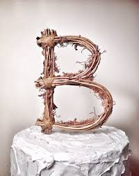 Letter B Rustic Twig Wedding Cake Topper