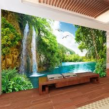 individuelle wand 3d grün berg wasserfall natur landschaft foto tapete wand tuch wohnzimmer home decor wand abdeckt 3 d