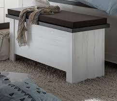 sitztruhe corela in pinie weiß und wenge landhaus sitzbank 106 cm truhe