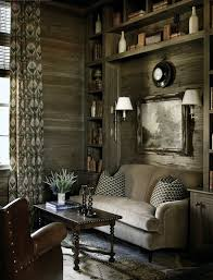 Rustic Living Room Decor For Small Space With Large Open Plan Wall Shelves Plus Cream Fabric Sofa And Brown Wing Back Chair Combine Cone Lamp