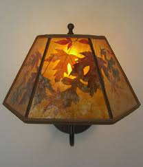 Mica Lamp Shade Replacement by Amber Mica Lamp Shade With Autumn Leaves Oxidized Brass Sconce