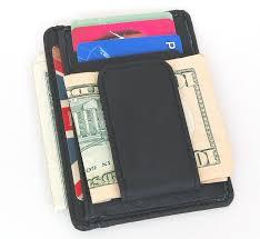 mens leather wallet money clip credit card id holder front pocket