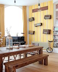 View In Gallery Striped Yellow Wallpaper The Modern Dining Room Design Avocado Sweets Interior Studio