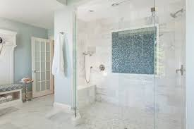 Inspiration For A Beach Style Master Mosaic Tile Blue And White Corner Shower