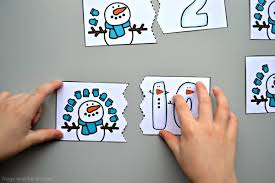 Snowman Counting Puzzles Frogs and Fairies