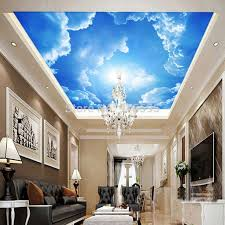 Wallpaper Mural Decor Photo Background Blue Sky And White Clouds Sun Restaurant Living Room Ceiling Wall Painting Panel