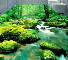 großhandel 3d pvc bodenbelag benutzerdefinierte foto wasserdichte bodenwand grüne wald bach wasser verträumte 3d badezimmer schlafzimmer malerei 3d