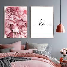 großhandel rosa blumen wand kunst leinwand malerei poster nordic poster und drucke liebe peony poster wandbilder für schlafzimmer dekor