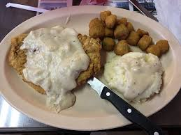 chicken fried steak mashed potatoes and fried okra picture of