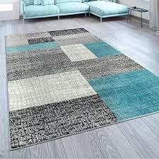 paco home designer wohnzimmer teppich modern kurzflor karo