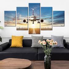 großhandel wandkunst malerei modulare poster moderne wohnkultur 5 panel sonnenuntergang flugzeug wohnzimmer leinwand hd druckbilder solutionwinni