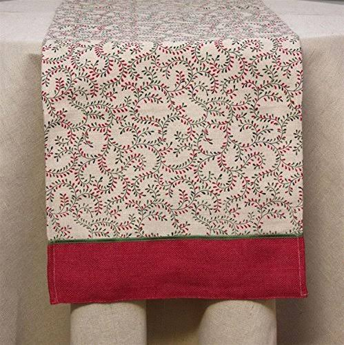 Diva at Home 72 inch Red and Beige Rustic Swirling Vine Burlap Christmas Table Runner