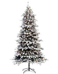 Flocked Slim Pre Lit Christmas Tree Fir Artificial With Clear Lights