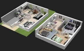 plan maison 3d moderne mc immo