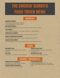 Food Truck Menu | The Smokin Burrito 333tacomenu Best Food Trucks Bay Area Truck Festival Menu Brochure Street Template Design Bombay For Bandra Kurla Hot Dog Swizzler Expands Its Allamerican At A New For With Handdrawn Menu The Guava Tree Eugenes Chicken Food Solarfmtk Hill Country Bbq Poketothemax Food Truck Menu Wicked Las Condes