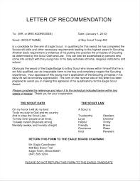 Letter Re mendation For Eagle Scout Template