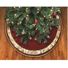 48 Poinsettia Ribbon Bordered Burgundy Christmas Tree Skirt W Gold Cord Trim
