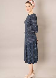 navy blue polka dot midi dress modli