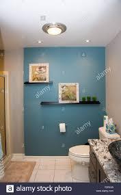 ein schön ausgestattetes bad mit einer mauer petrol blau