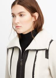 vince leather trimmed shearling jacket in white lyst