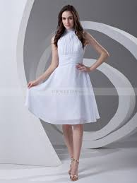 high neck pleated knee length chiffon graduation dress with flower