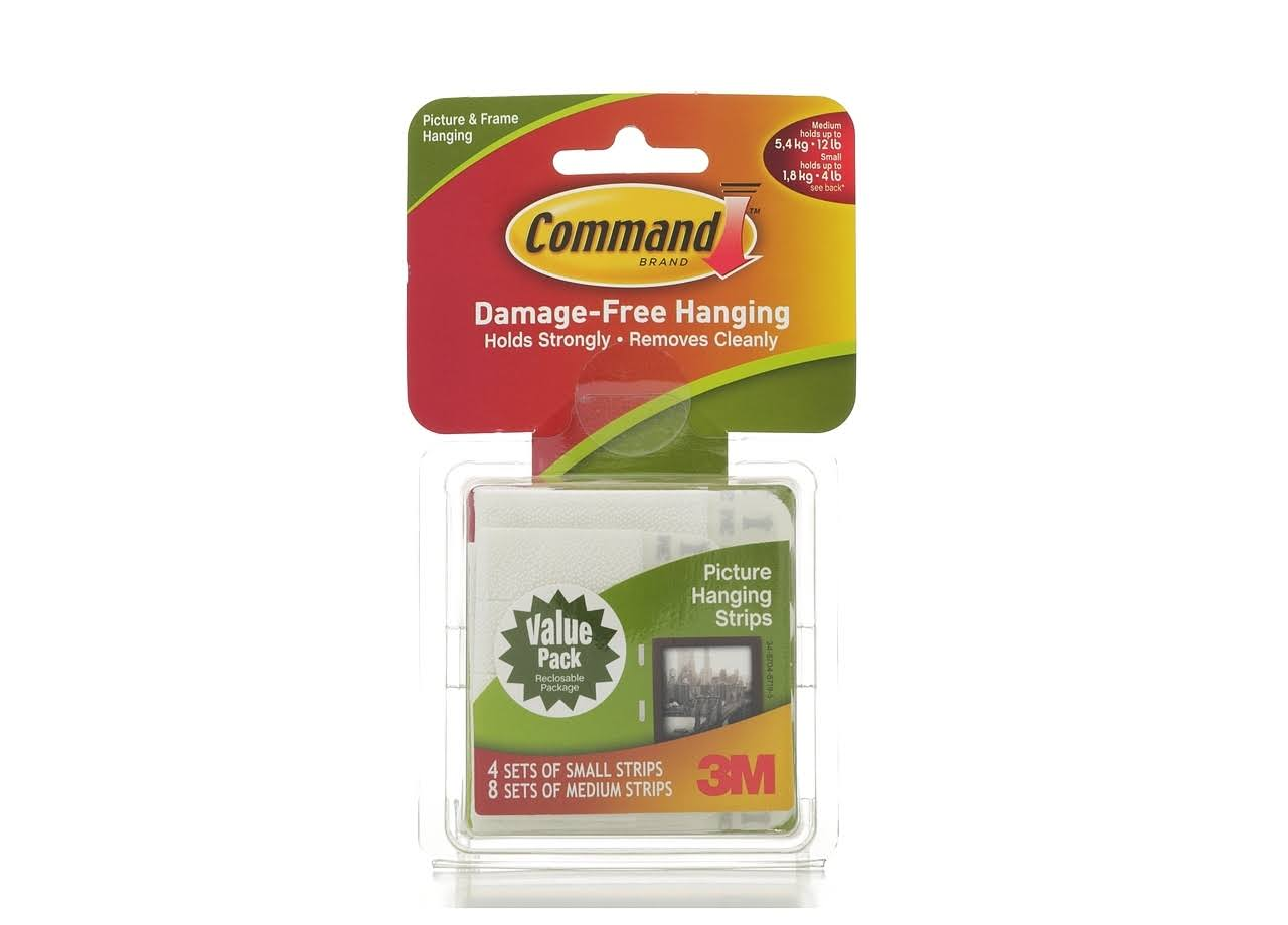 Command Picture Hanging Strips - 8 Medium Pairs, 4 Small Pairs