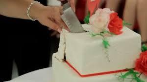 Wedding Couple Cuts Cake Cut