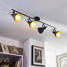 lenwelt deckenle julin dimmbar modern in schwarz und gold aus metall für wohnzimmer esszimmer 4 flammig e14 a deckenleuchte