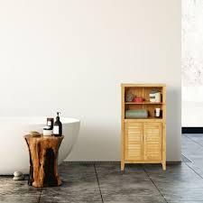 badezimmerschrank lamell bambus hbt ca 92 x 50 x 25 cm badschrank mit türen in lamellen optik natur