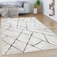 teppich wohnzimmer kurzflor vintage modernes marmor rauten muster beige grau grösse 120x170 cm