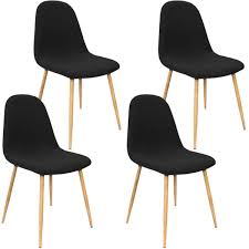 4x Retro Designer Black Fabric Dining Chairs - Home Done Ding Chair Black Leather Kitchen Chairs Buy Fabric White And Room Sets Amazoncom Set Of 2 Modern Upholstered Naples Grey Vintage Pack Two Modish Synnes Black Rouse Home Ashford X Canterbury Lvet Fabric Ding Room Chairs Scroll Top High Back Reed Farmhouse Bri Metal Frame With Arms Colt Low Back Armchair O G Studio 4 Matching Satina With Stud Detail 82 Off Macys Patterned
