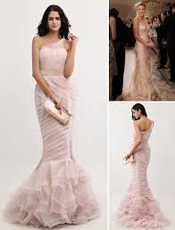 peach evening dress mermaid one shoulder organza prom dress ruched