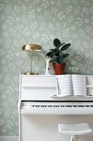 wohnzimmer tapete blumenmuster im skandinavischen stil mintgrün und weiß 139085