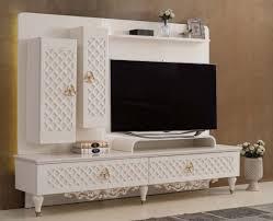 casa padrino luxus barock tv schrank weiß gold 225 x 51 x h 170 cm massivholz schrank wohnzimmerschrank wohnzimmer möbel im barockstil