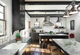 Industrial Style Rustic Modern Farmhouse Kitchen In Black And White With Marble Countertops Cone Metal Lighting Fixtures