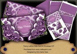 Purple Roses Happy Birthday Fancy Lattice 3D Card Kit CUP 10