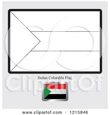 Coloring Page And Sample For A Sudan Flag
